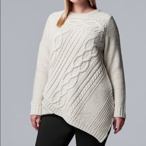 2/$60 Simply Vera Wang XL Cable Knit Ivory Sweater